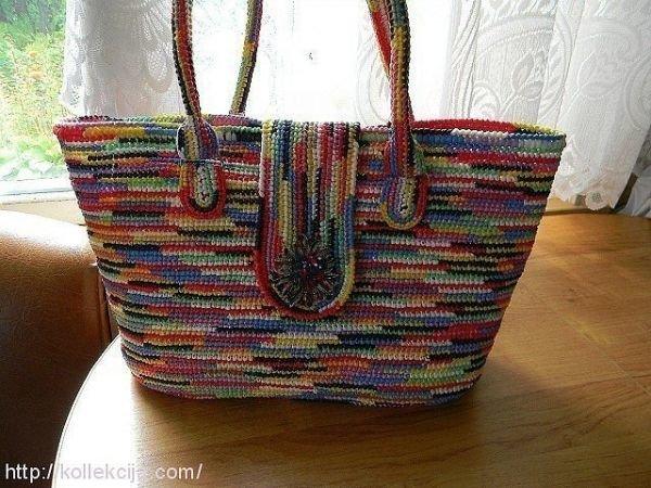 Вязание из пакетов крючком сумок 822