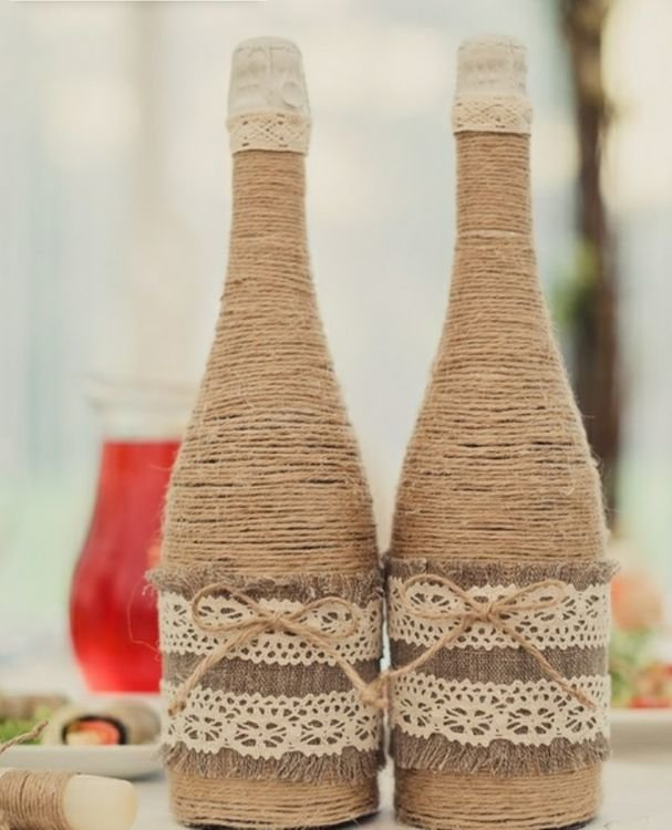 Декор бутылок в стиле рустик