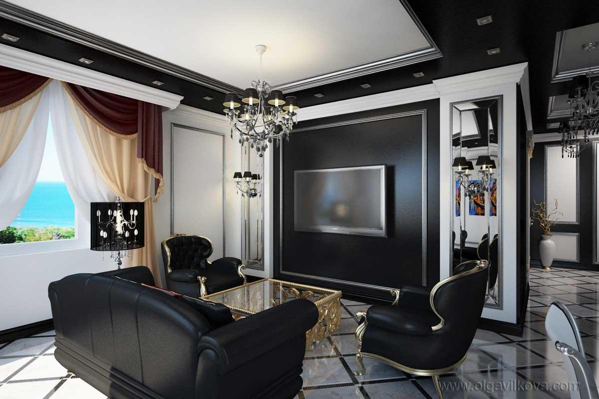 Черный потолок в интерьере дизайн