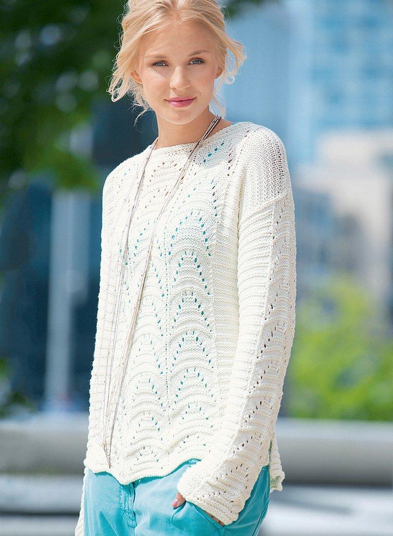 Пуловер с ажурными узорами 6