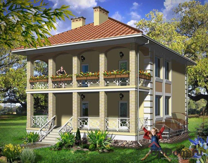 Двухэтажный дом с балконом и террасой.