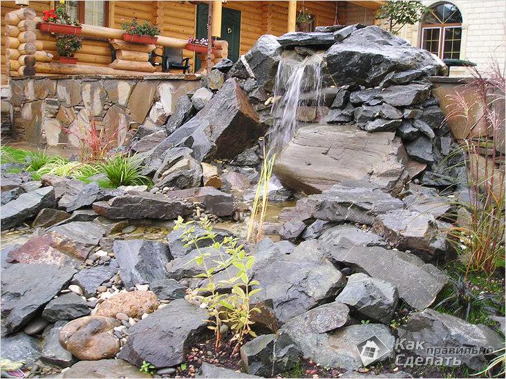 Водопад с ручьем на даче картинки