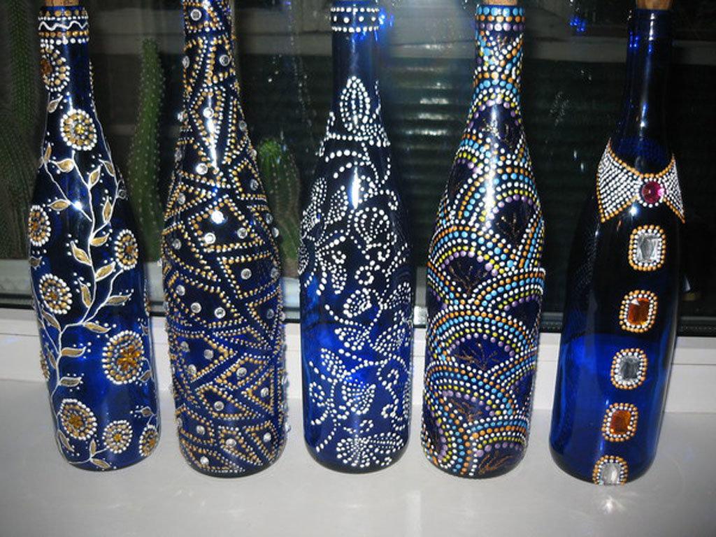 Картинки бутылок точечная роспись