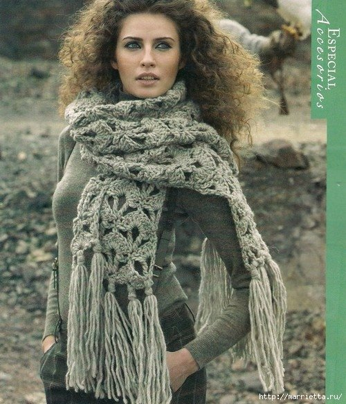 Вязание крючком шарф из толстой пряжи 24