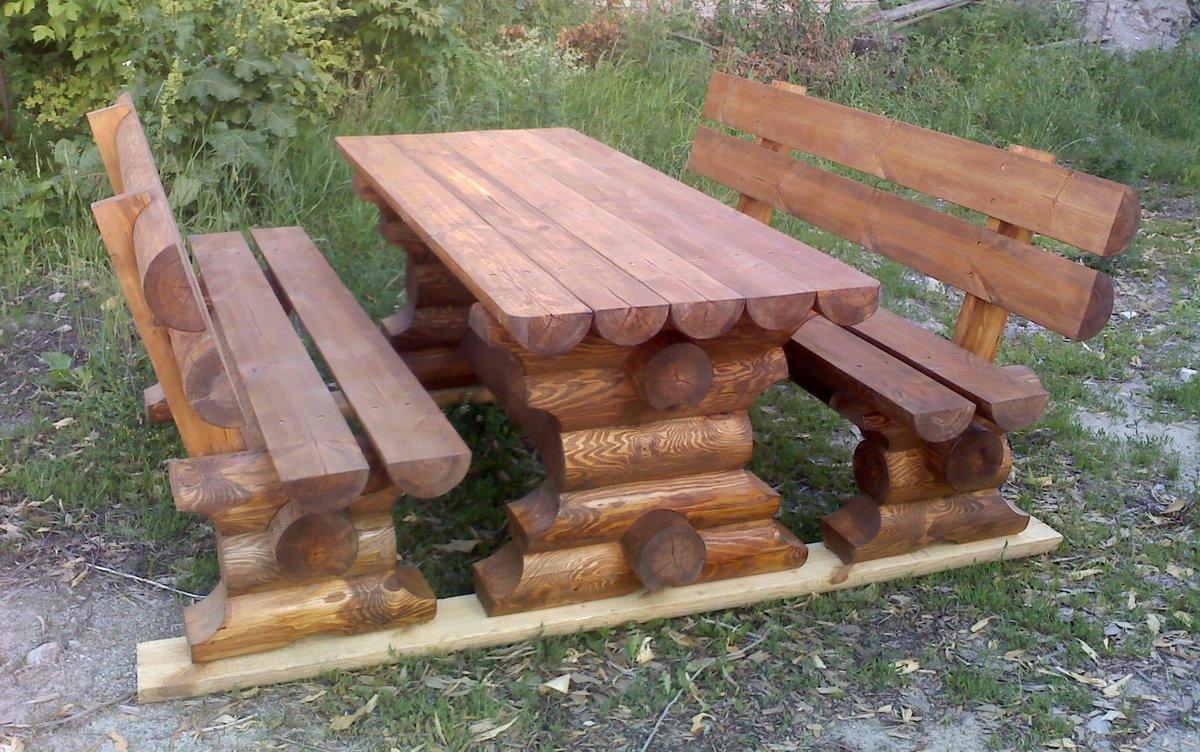 Садовые скамейки из бревна фото