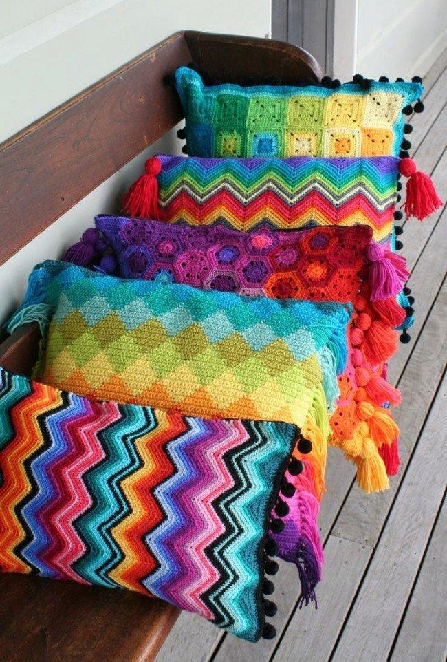 Разноцветные вязаные вещи своими руками 3