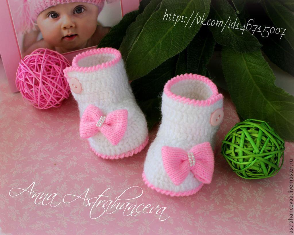 Вязание для новорожденных девочек пинетки спицами 66
