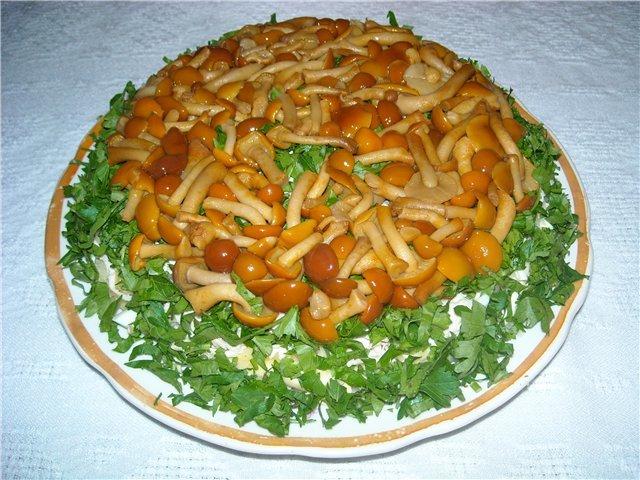 Салат грибная поляна с опятами пошаговый рецепт с