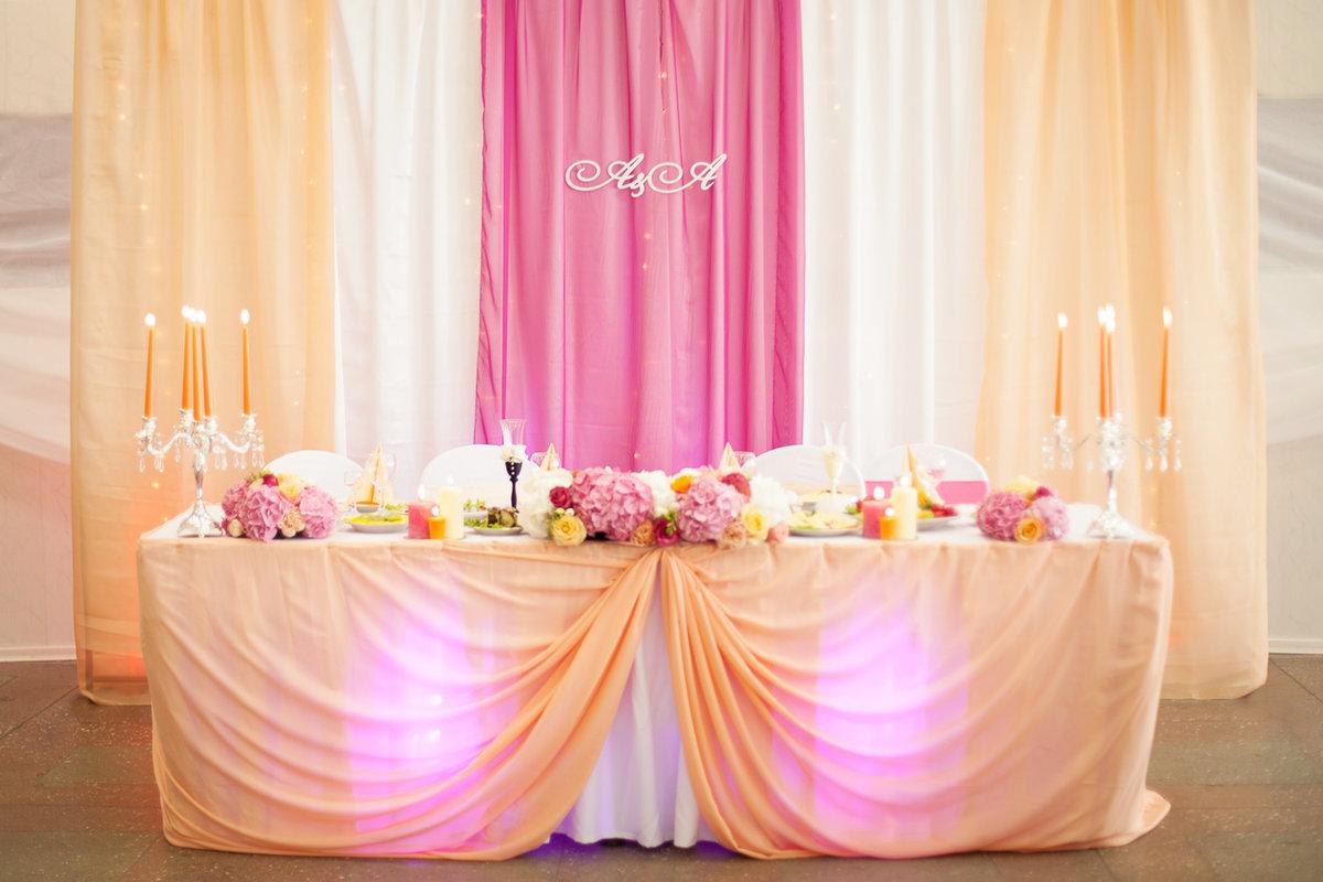Фото украшения зала на свадьбу в розовом цвете