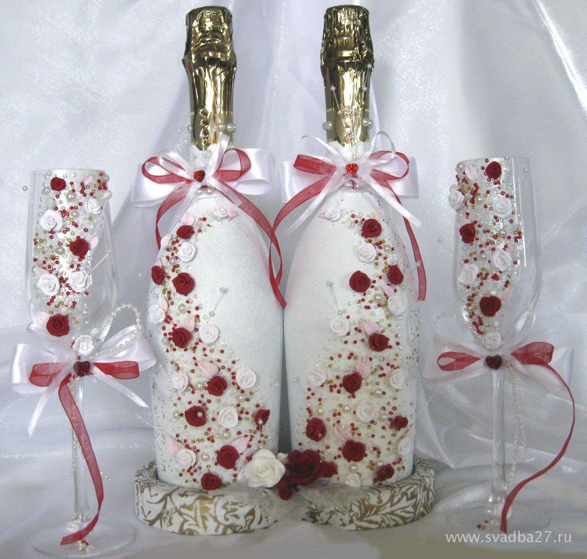 Украшаем бутылки к свадьбе своими руками фото