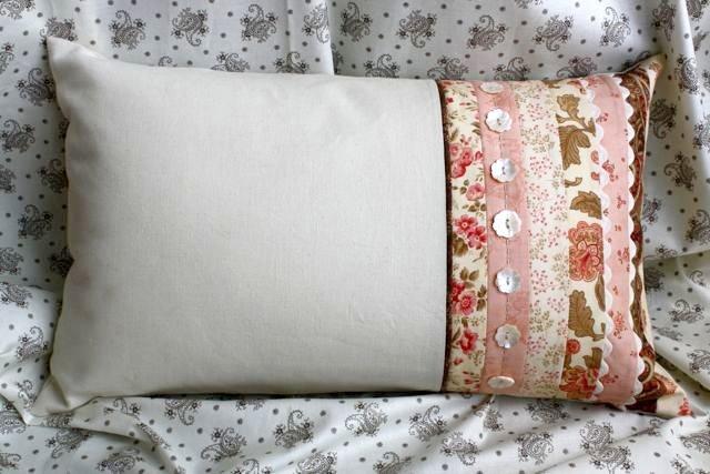 Сшить наволочку на подушку из кусков ткани 58