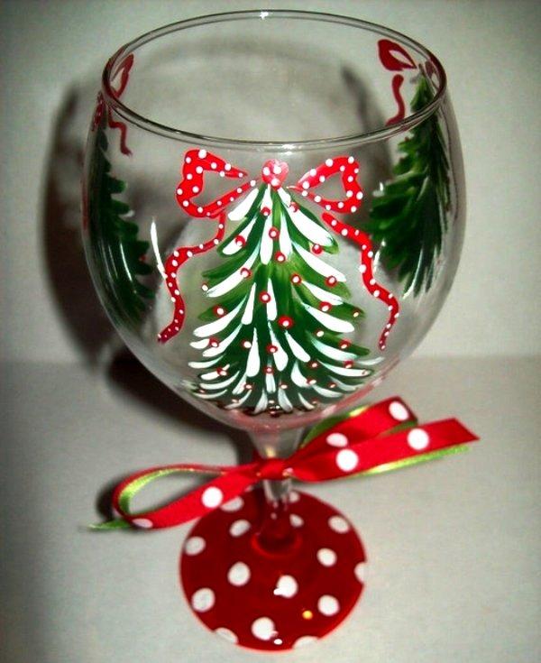 Как украсить бокалы на новый год своими руками бисером