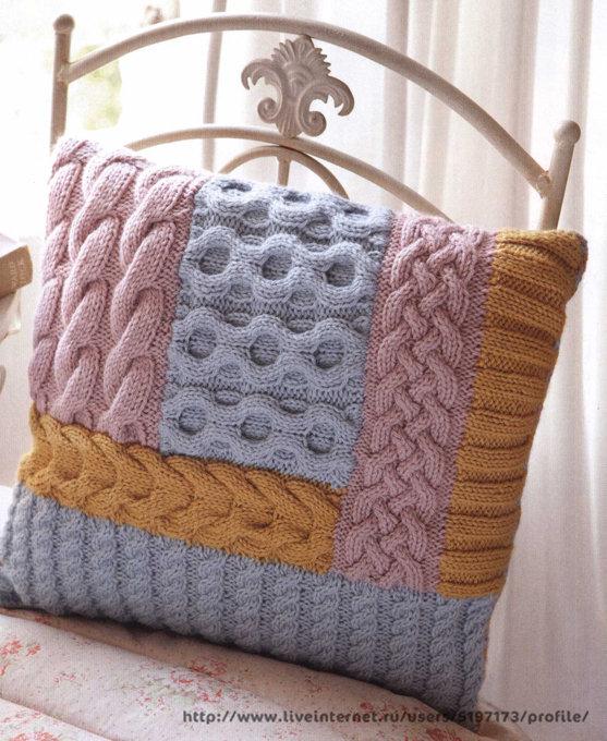 Вязание наволочек для подушек на спицах