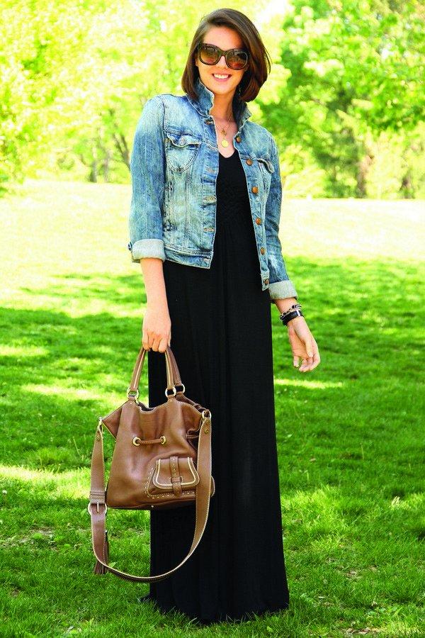 Как носить платье с джинсовой курткой