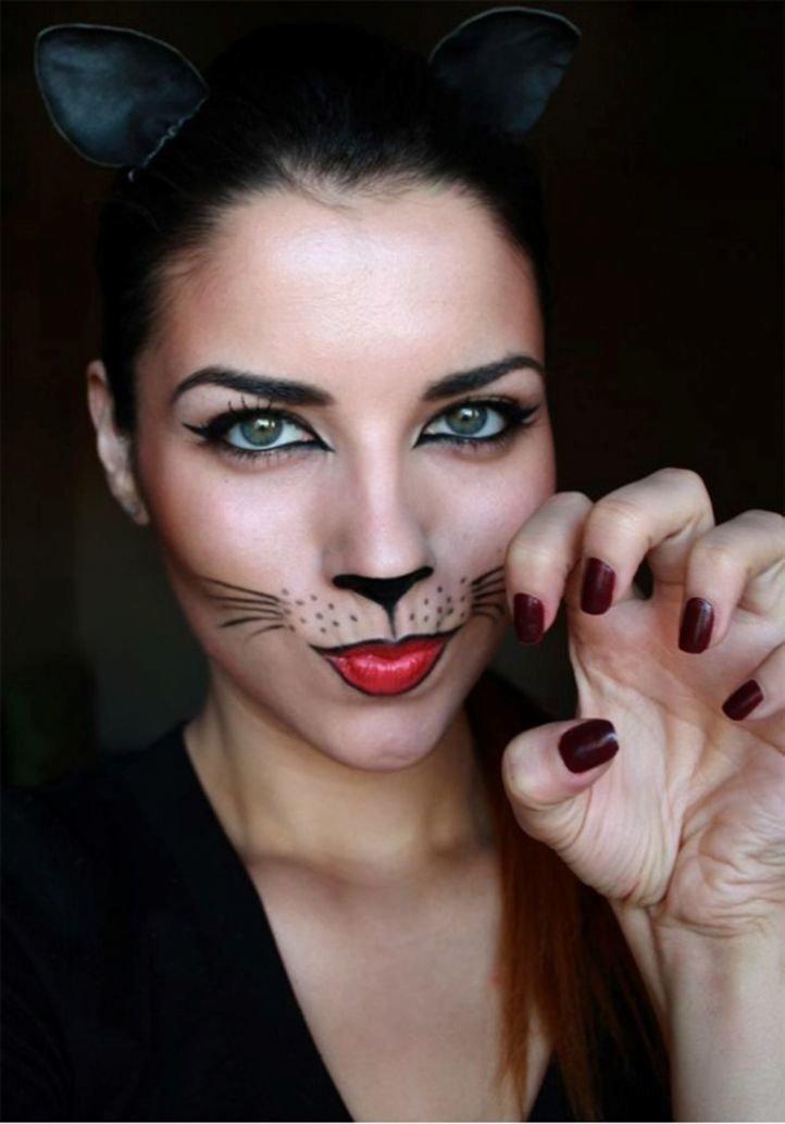 Фото макияж кошки на хэллоуин