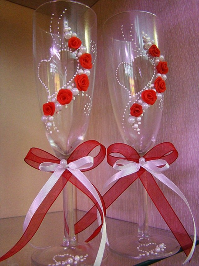 Оформление свадебных бокалов своими руками с фото 21