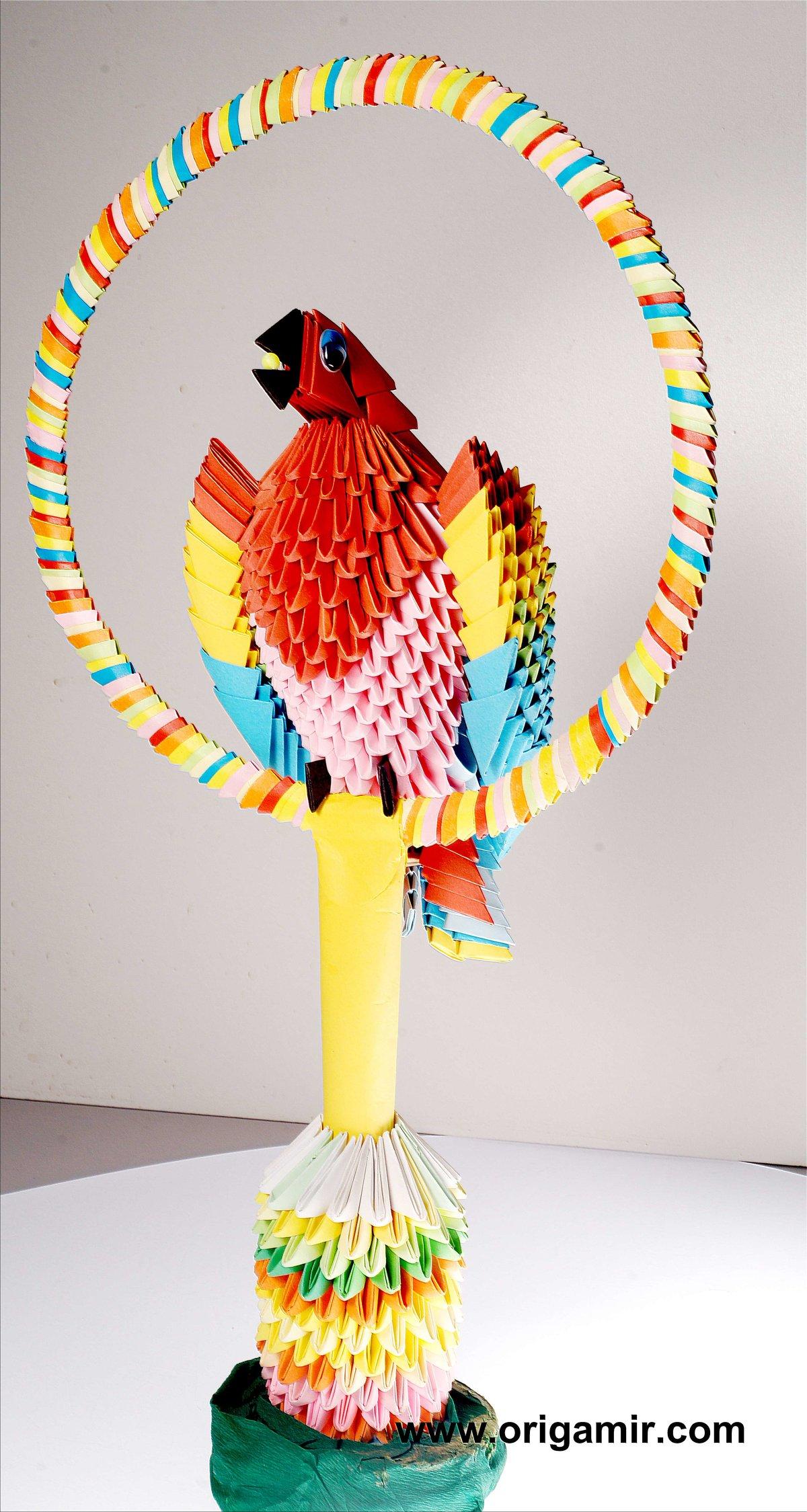 Как сделать попугай оригами схема мастер класс