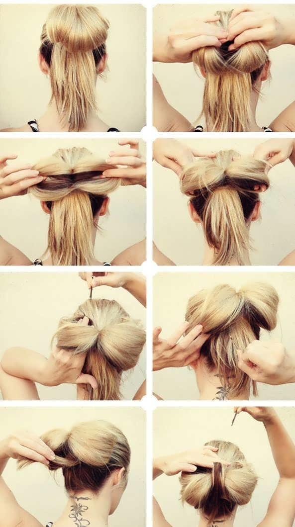 Как сделать бантик из длинного волоса 596