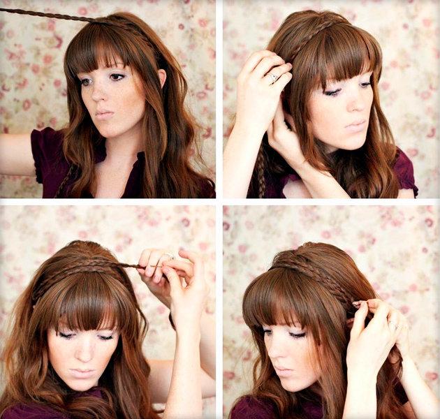 Причёска на длинные волосы с чёлкой своими руками фото 169