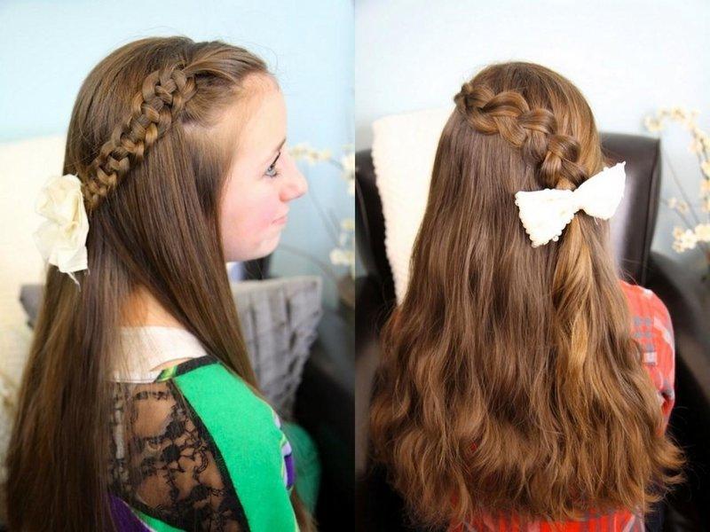 Прически подростку на длинные волосы в школу