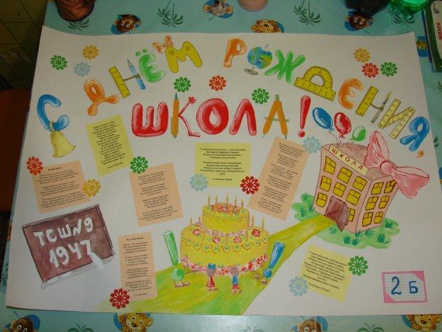 Плакат своими руками с днем рождения школа