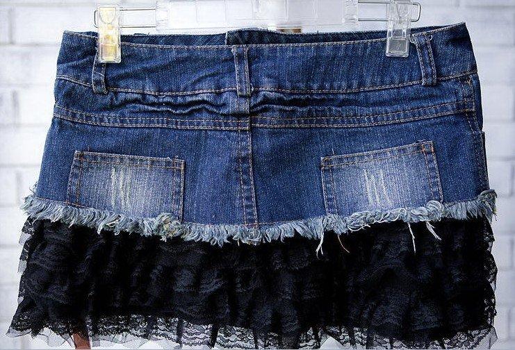 Юбка джинсовая своими руками с кружевами