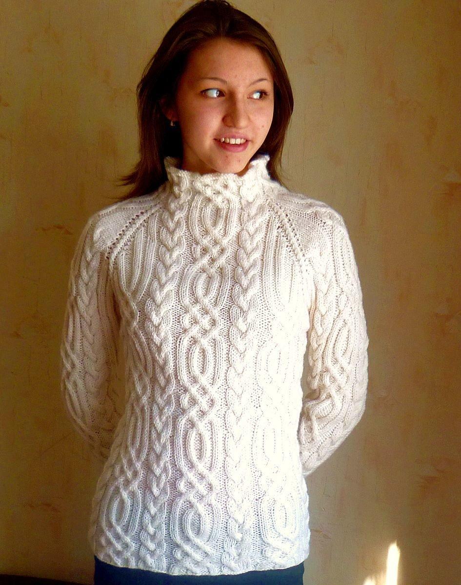 Вязание свитеров с косами спицами 144