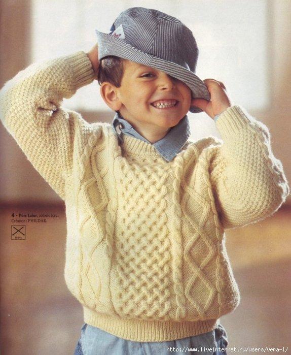 Вязание спицами свитер для мальчика 5-6 лет 1
