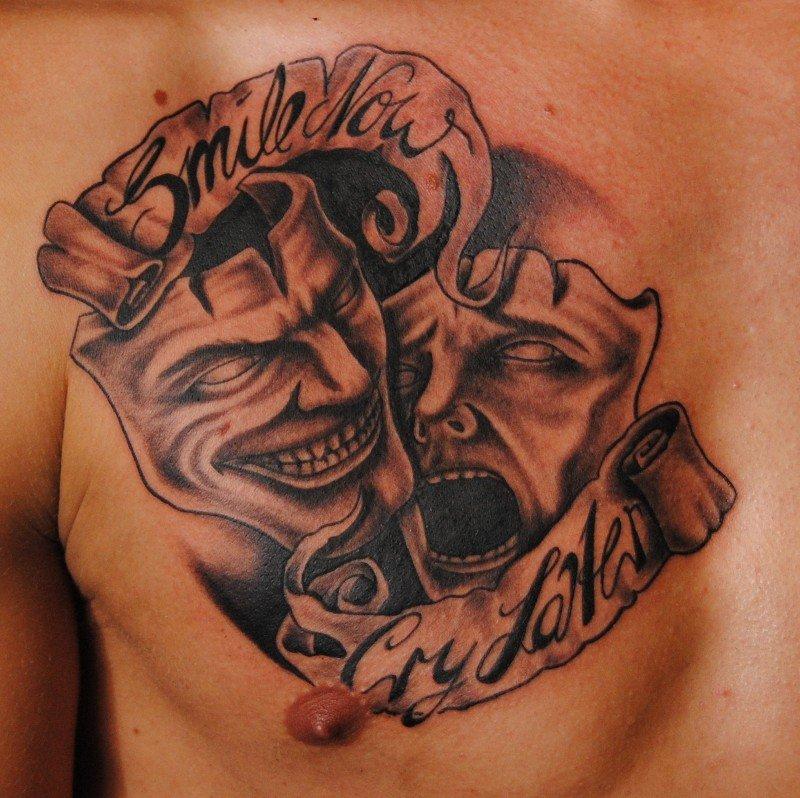Татуировка масок на груди
