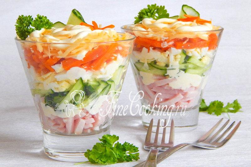 Рецепт салата коктейль с ветчиной с фото
