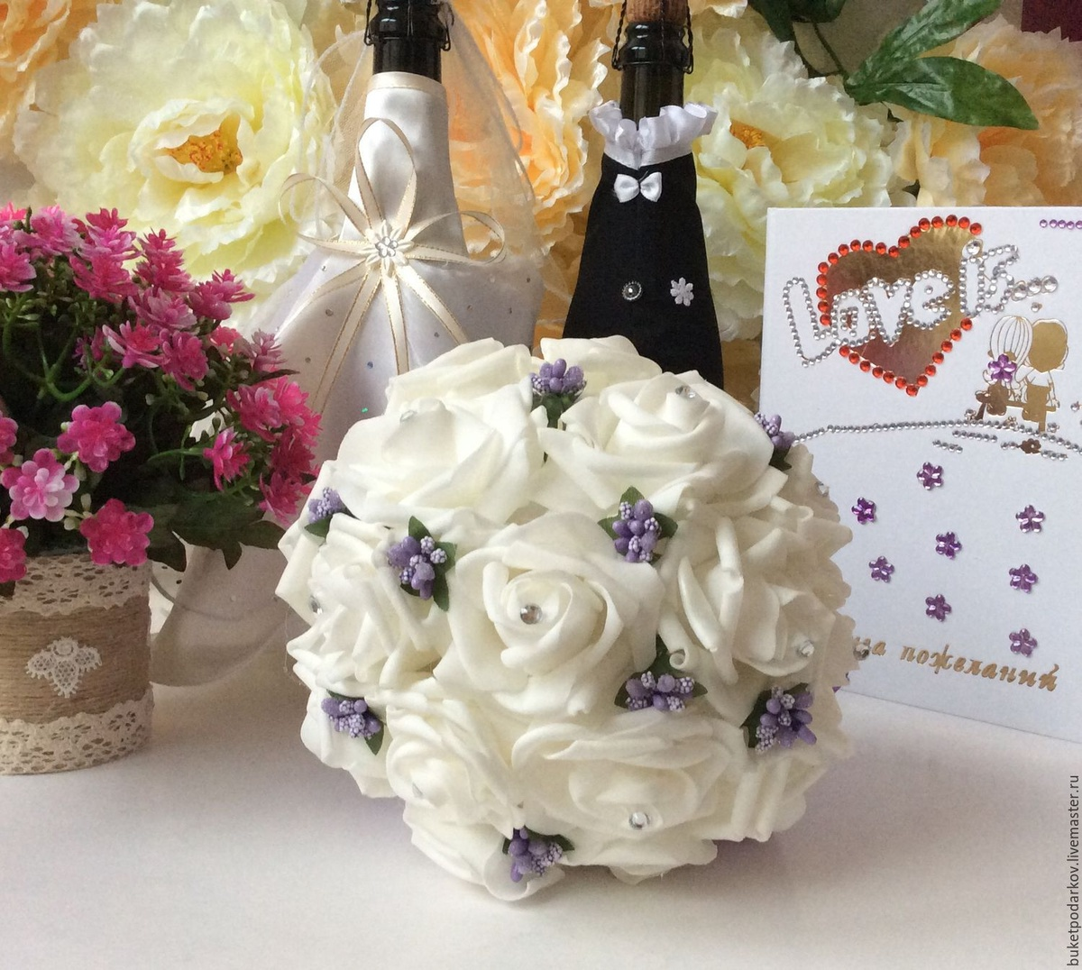 Искусственный свадебный букет своими руками фото