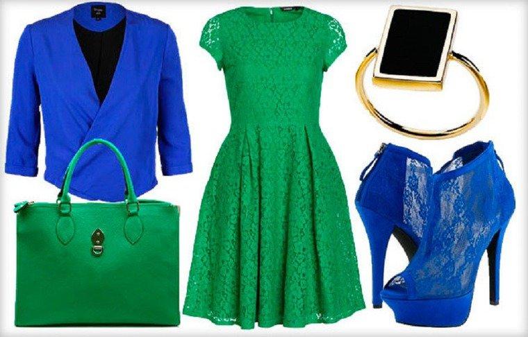 Платья зеленого и синего цвета