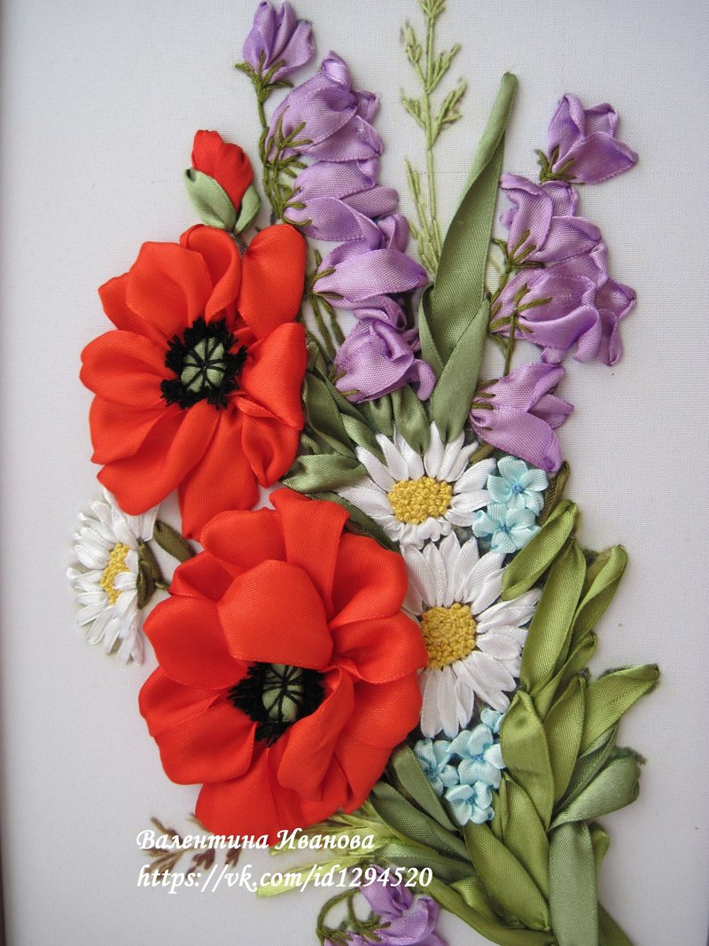 Вышивка лентой цветка