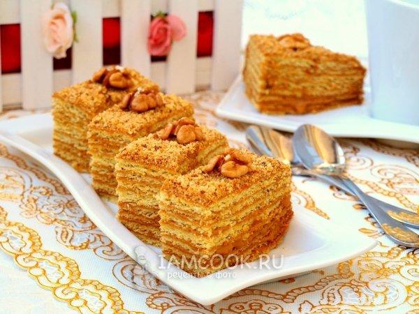 Рецепт медовый торт с вареной сгущенкой рецепт с фото