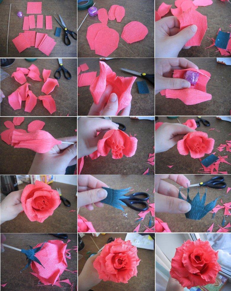 Как сделать цветы из гофрированной бумаги розы с конфетами