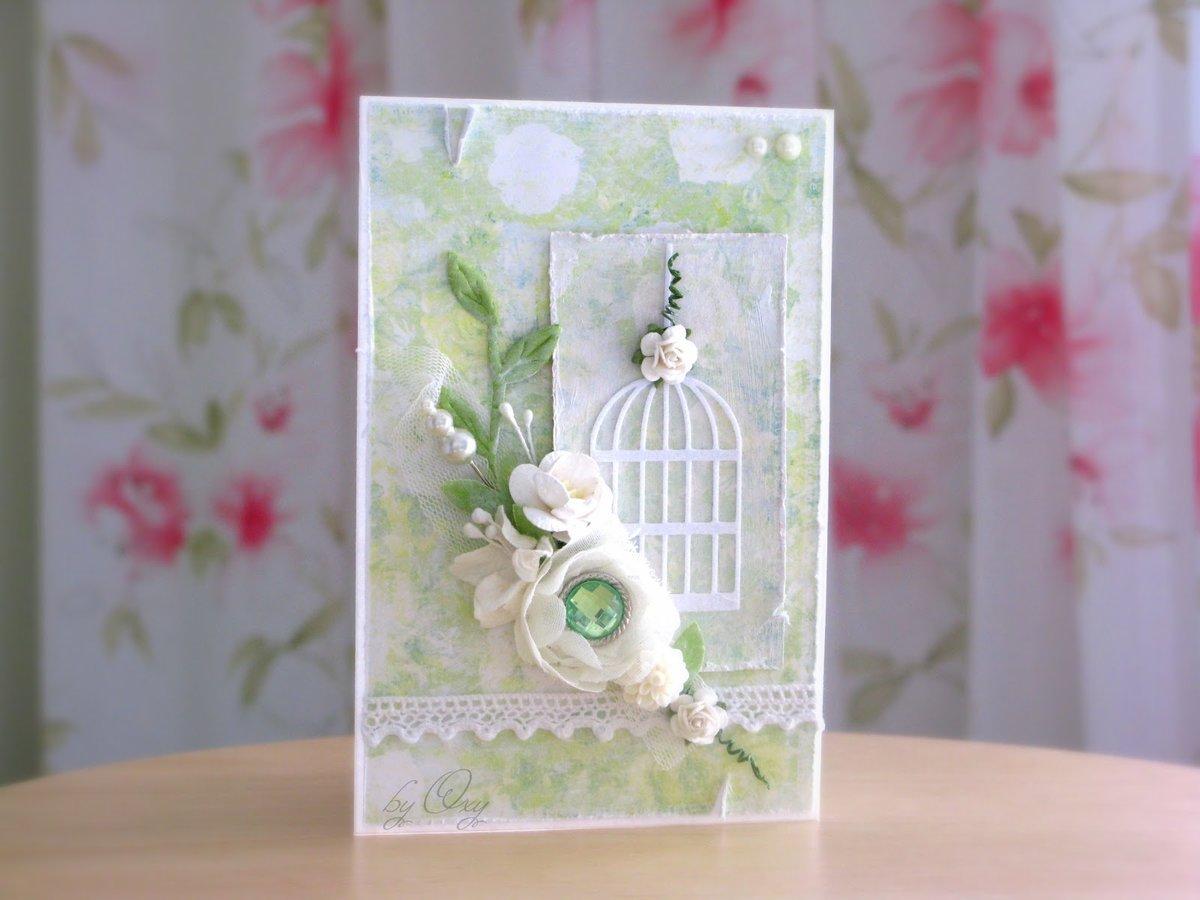 Свадебная открытка своими руками в стиле шебби-шик
