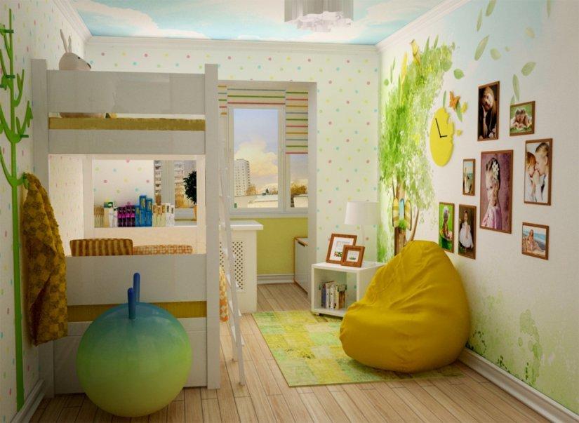 Дизайн детской объединенной с балконом