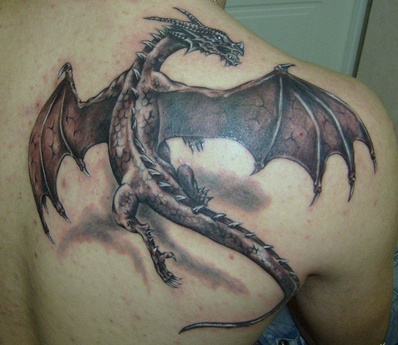 Фото тату на лопатку дракон