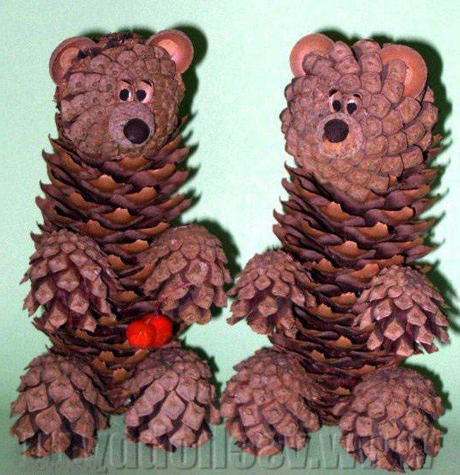 Поделки из шишек животные для школьников фото