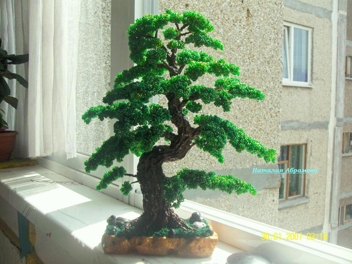 Бонсай деревья из бисера мастер класс с пошаговым фото