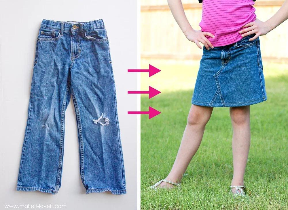 Сшить юбку из старой джинсовой юбки 954