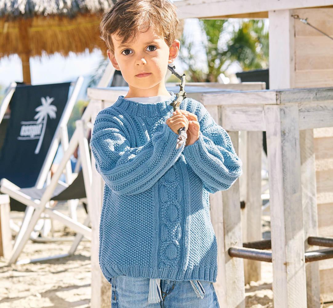 Вязание спицами свитер для мальчика 7-8 лет 45