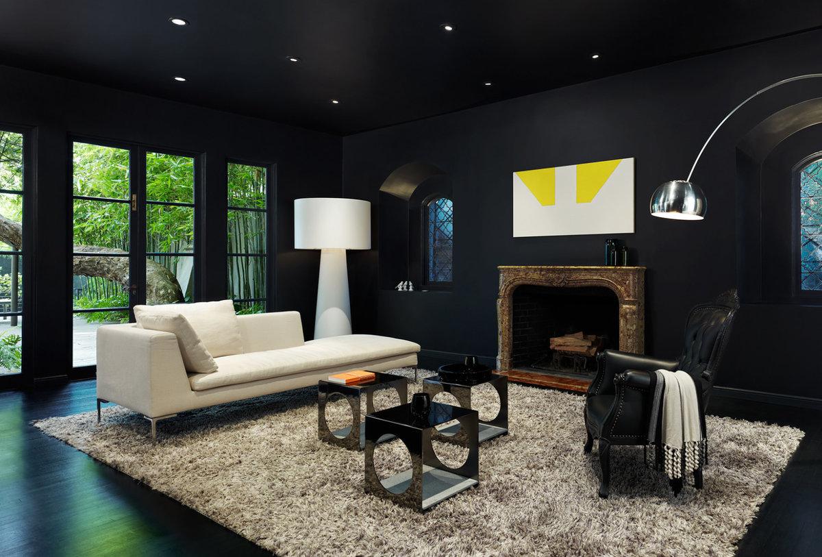 Гостиные в чёрном цвете дизайн фото