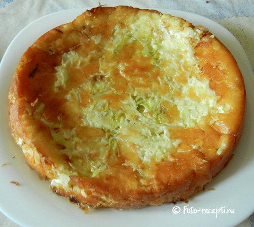 Быстрый пирог из кефира с капустой рецепт с фото