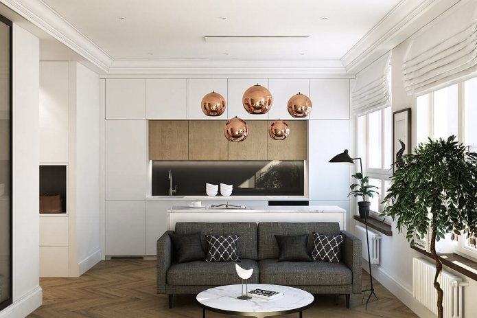 Дизайн однокомнатной квартиры 35 кв.м с