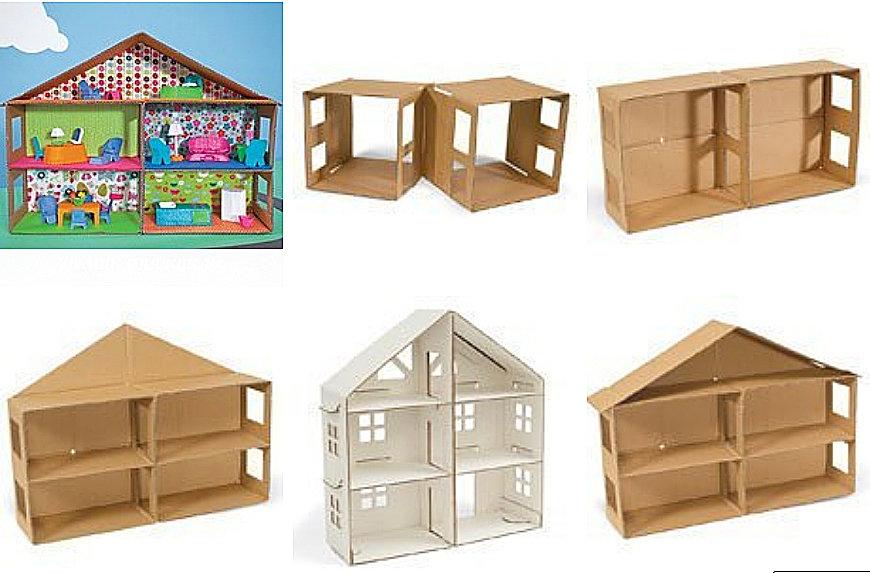 Как из картона сделать домик и мебель  80