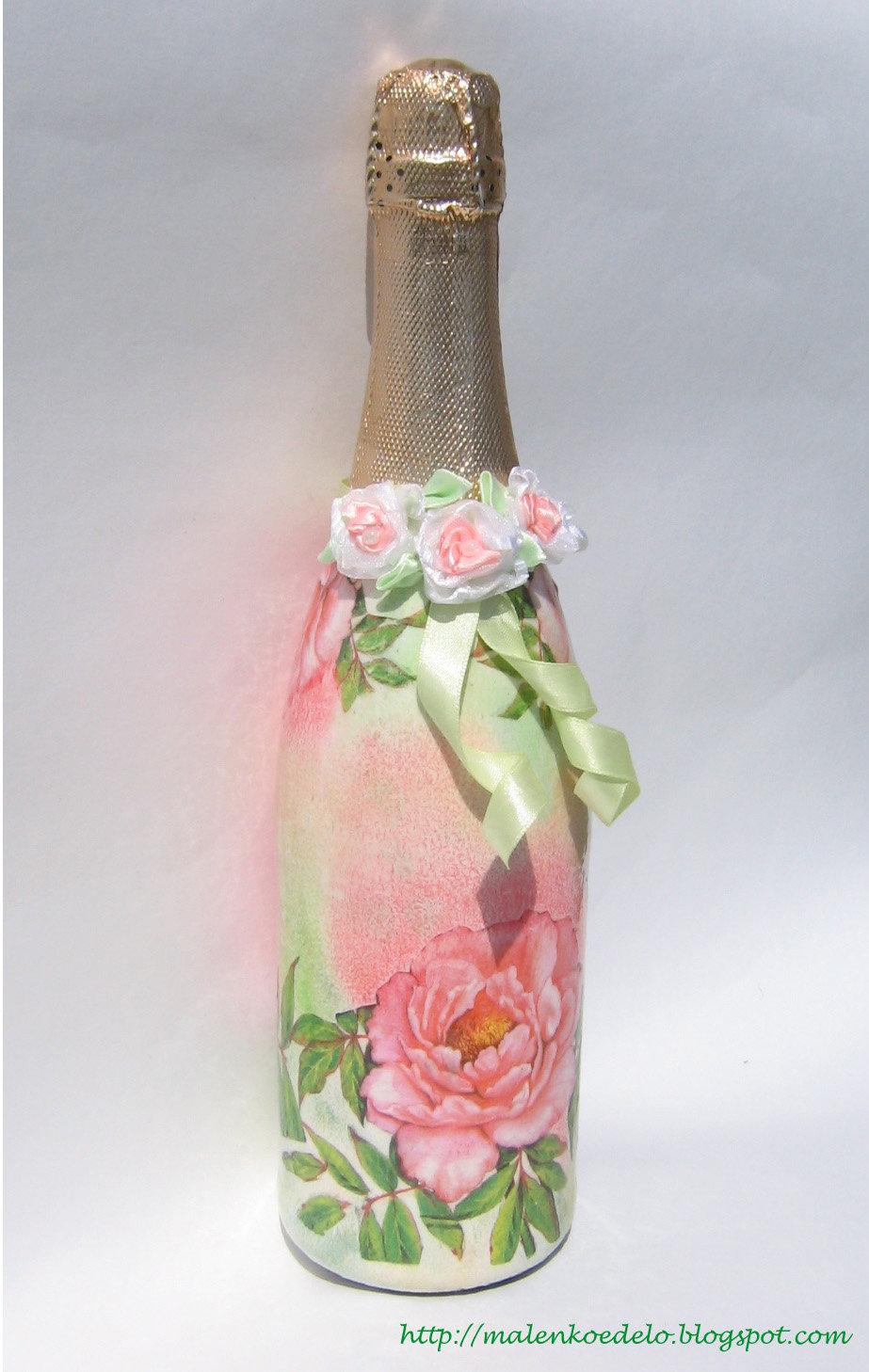 Декупаж бутылок к годовщине свадьбы