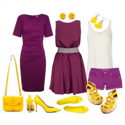 Сиреневое платье с чем носить