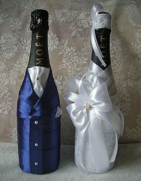 Украшения на бутылку своими руками на свадьбу