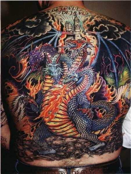 Фото тату дракон на всю спину